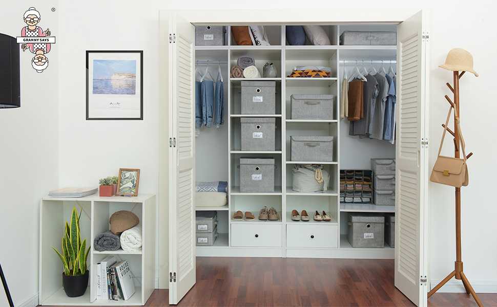 GRANNY SAYS Storage Bins with Lids, Clothing Storage Containers with Handles