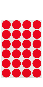 red removable dots on sheet, sticky, stickers, labels