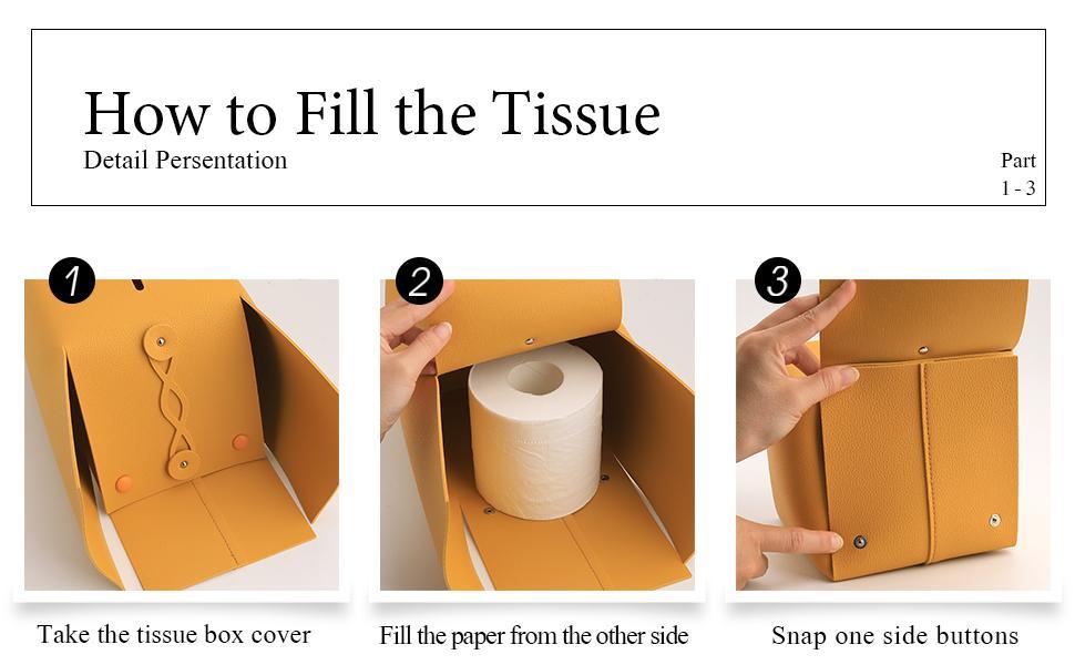 Square leather tissue box cover