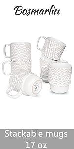 Bosmarlin stackable mugs set of 6