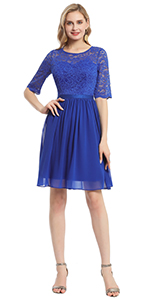 Floral Lace Long Sleeve Cocktail Party Swing Dress