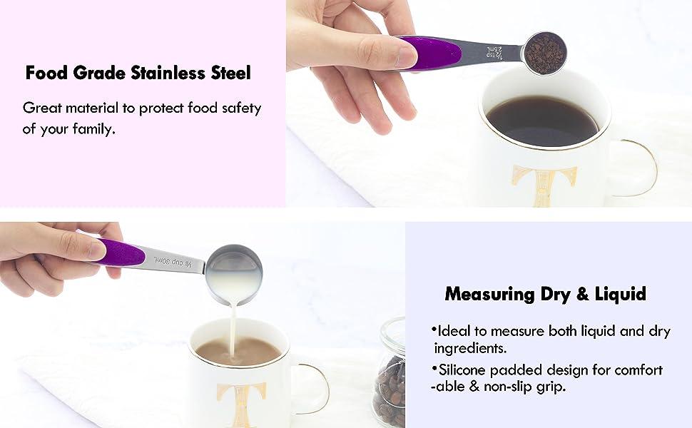 purple measuring cups spoons