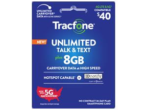 Tracfone unlimited talk & text plus 8GB