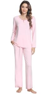 women long sleeve pajamas long pants sleepwear set bamboo viscose loungewear pjs jammies