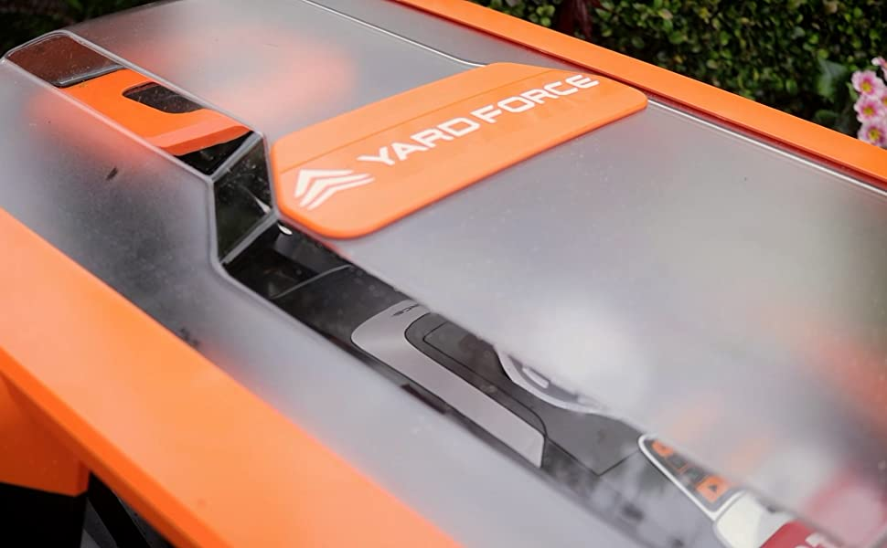 Yard Force Compact Robotic Mower in the Garage