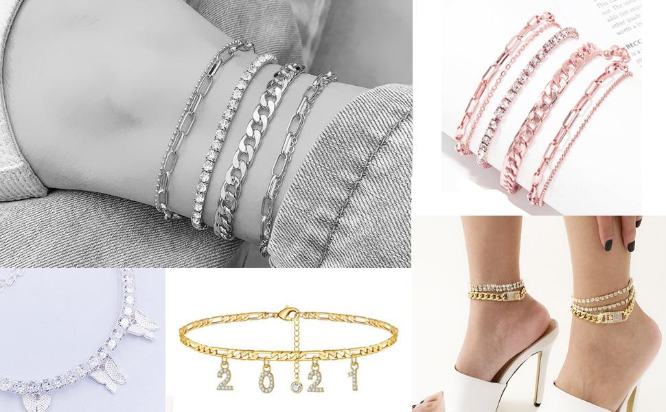Nanafast Various Styles of Ankle bracelets for women