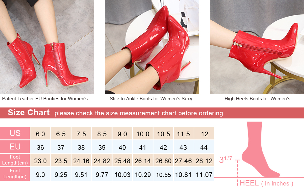 """Women's Patent Leather Boots Pointed Toe Stiletto Ankle Boots Side Zipper 4"""" High Heel Booties"""