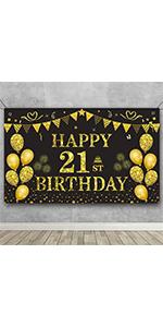 21st Birthday Banner Backdrop