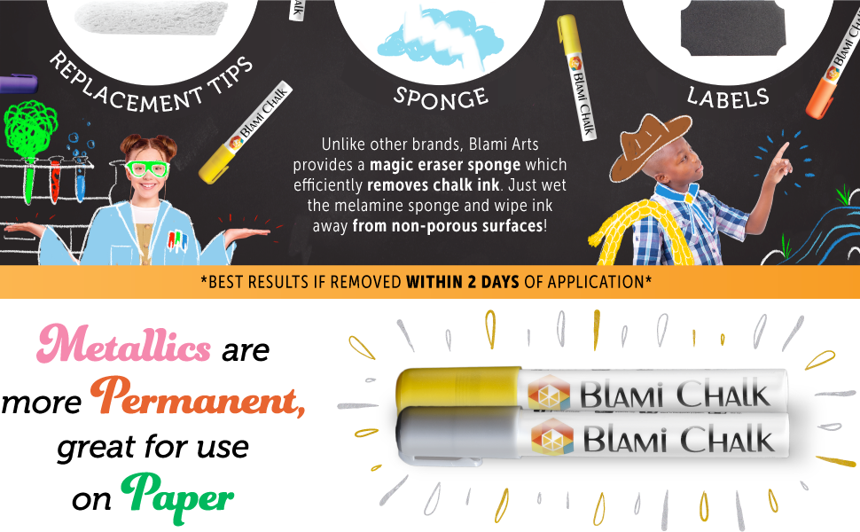 Blami provides an eraser sponge! Metallics are more permanent.