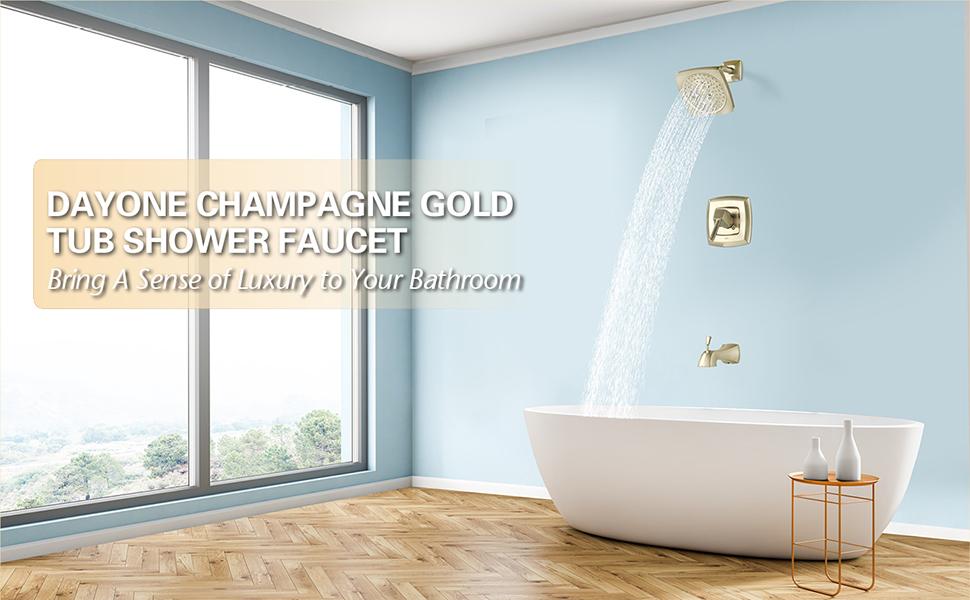 Dayone bathroom shower trim kit set brushed gold with valve