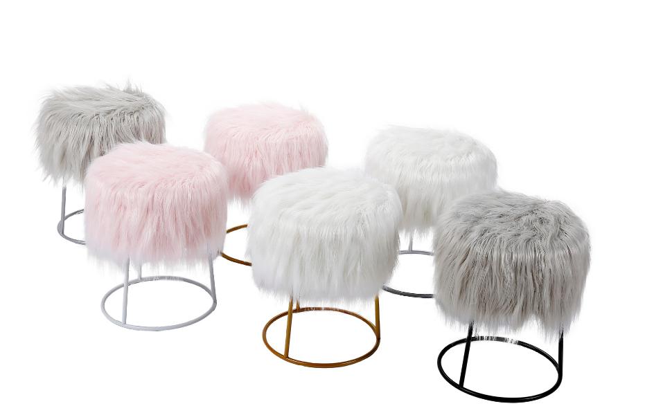 Faux Fur Ottoman, Fur Ottoman, Metal Base Ottoman, Ottoman, Faux Fur, Ottoman Seating