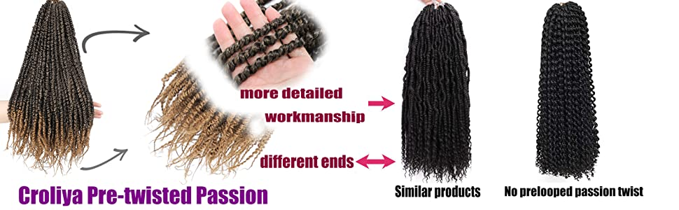 Croliya pretwisted passion hair compared with other similar products