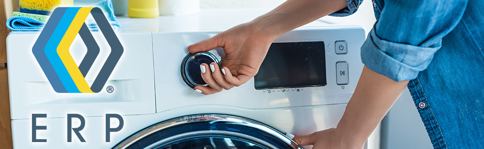 Woman starting washer with ERP logo