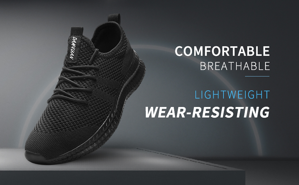 Lightweight comfortable black men's running shoes
