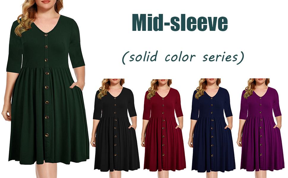 Women 3/4 Sleeve v-Neck Button Down dress