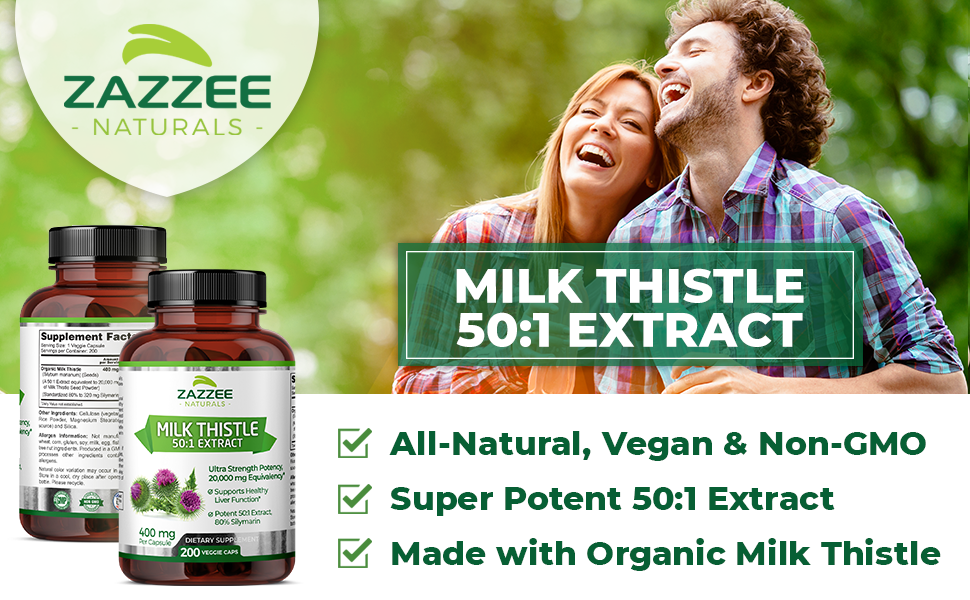 Zazzee Naturals Milk Thistle 50:1 Extract, All-Natural, Vegan, Potent 50:1 Extract, and USDA Organic