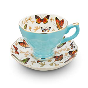 Lurrier Butterfly series Tiffany Blue Cup and Saucers