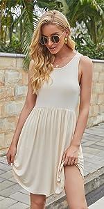 Women's Sleeveless Loose Plain Dresses Casual Short Dress with Pockets