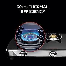 Preethi Blu Flame Glass Top 3 Burner Gas Stove, Manual Ignition, Black2