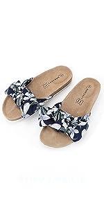 bow cork sandal blue