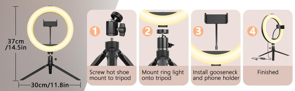 how to install the ring light?