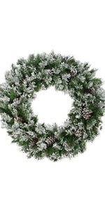 """36"""" Flocked Angel Pine with Pine Cones Artificial Christmas Wreath - Unlit"""