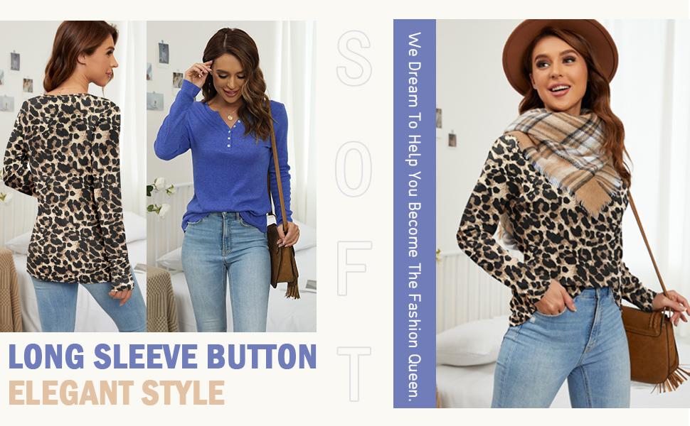 Long Sleeve Button Elegant Style