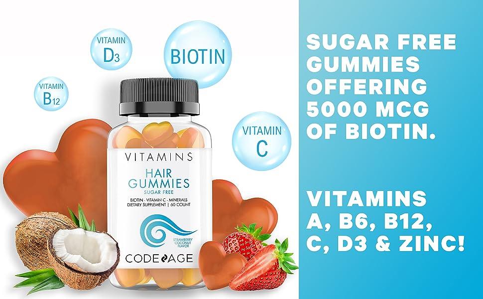 Codeage Hair Gummies Biotin Vitamin C