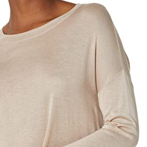 HUTOBI Women's Casual Crewneck Tops Long Sleeve Side Slits Loose Drape Lightweight Shirt