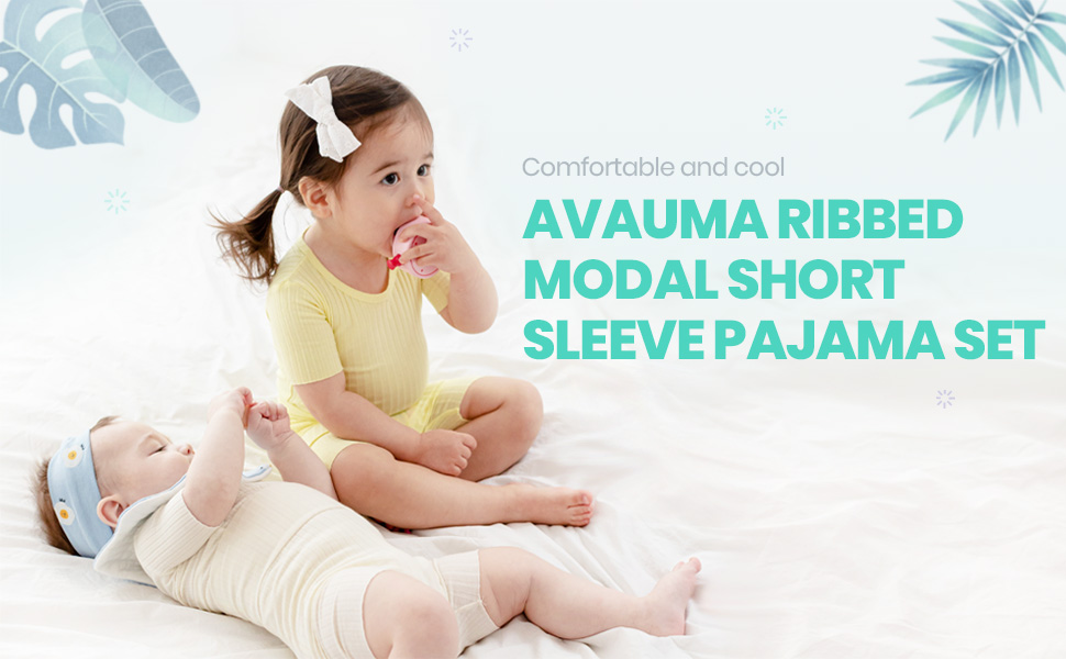 AVAUMA RIBBED MODAL SHORT SLEEVE PAJAMAS SET