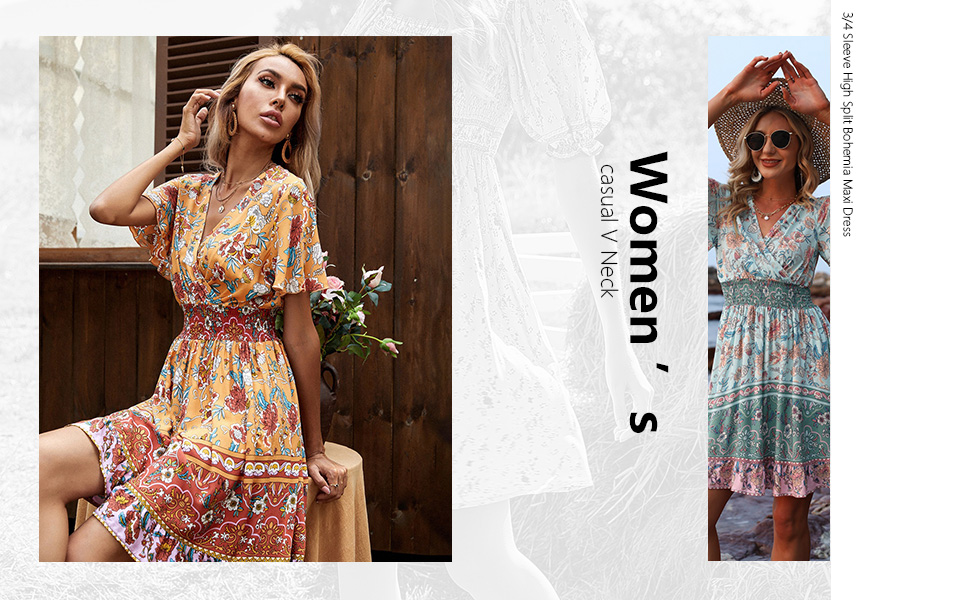 Women Short Swing Sleeve Deep V Neck Elastic Waist Floral Print Mini Dress