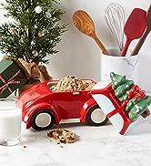 Christmas truck cookie jar