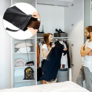 You can put these drawstring bags in your cabinet