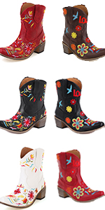 heelchic Women Flower Embroidered Cowgirl Boots Classic Snip Toe Ladies Western Short Ankle Boots