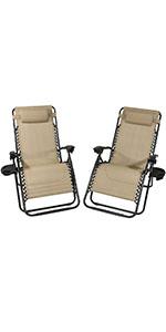 Sunnydaze Oversized Zero Gravity Lounge Chairs amp; Cup Holder - Set of 2 - Khaki