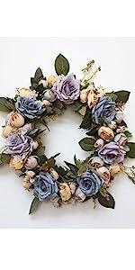 blue and purple peony wreath