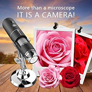 More than a microscope It is an HD camera that can take photos and record videos,
