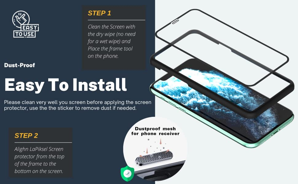 LaPiksel Tempered Glass cell phone screen protectors Easy to install