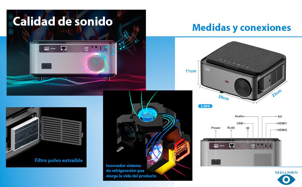 proyector barato, proyector portatil 4k, proyector portatil con android, proyector con bluetooth