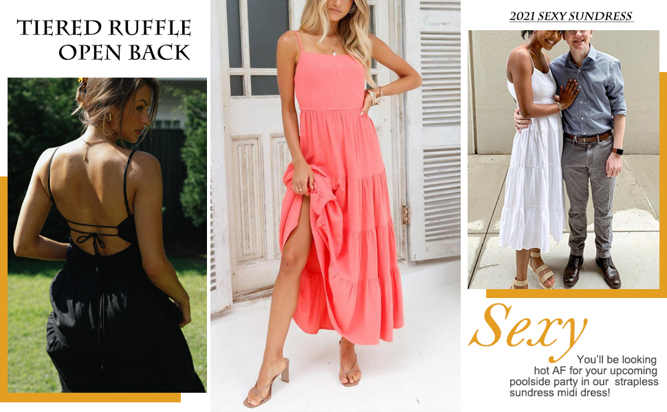 Sexy 2021 Tiered Ruffle Open Back Dress