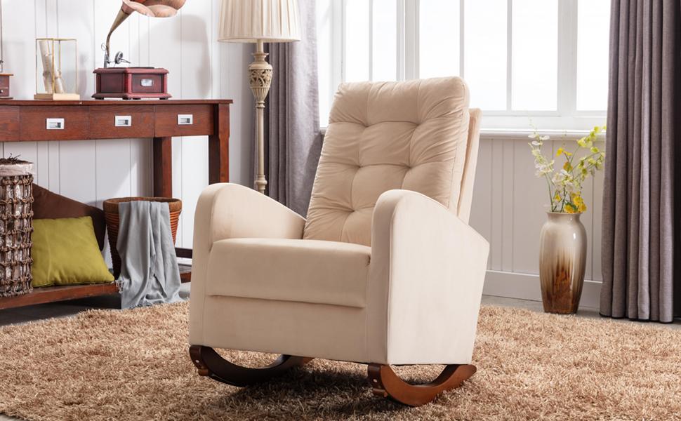 Velvet Rocking Chair Upholstered Padded Nursery Glider Rocker Mid-Century Modern Armchair