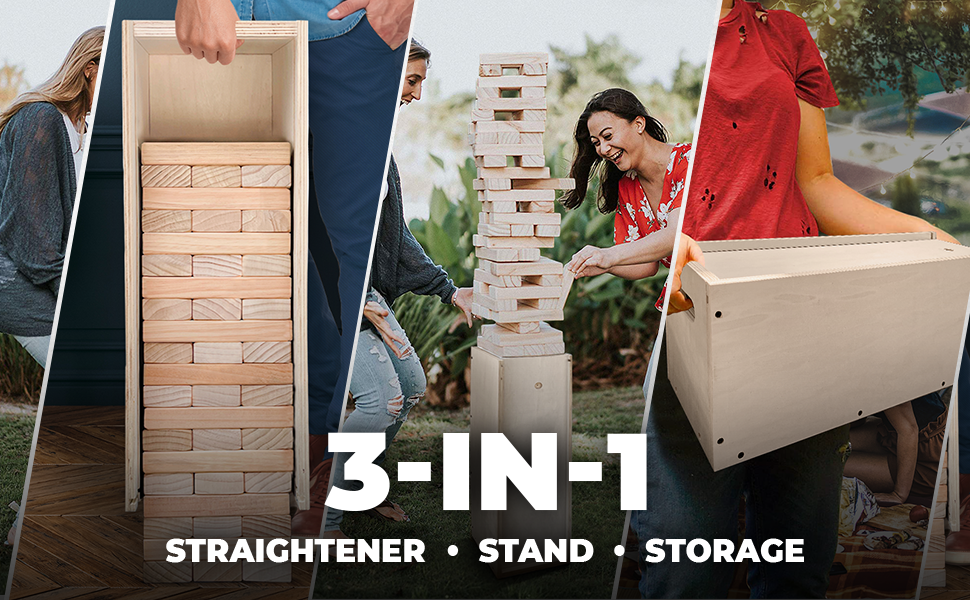 Giant Jengga, Giant Tower Game, 3-in-1 Set. Straightener, Stand, and Container