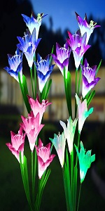 Solar Lights Outdoor Color Changing Lily Solar Flower Lights