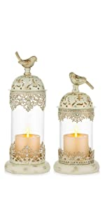 distressed ivory candle holder decorative birdcage