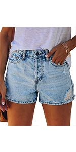 Women Ripped Denim Jean Shorts Mid Rise Stretchy Jeans Shorts