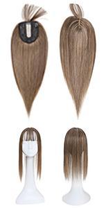 Human hair topper with bang