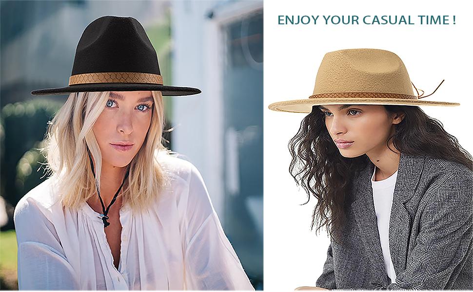 Womens Classic Solid-Color Belt-Buckle Fedoras-Hat Wide-Brim Panama Hat