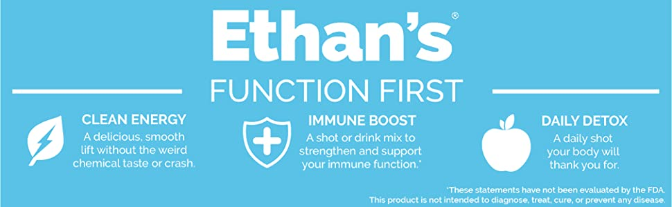 Ethan's functional shots with clean energy, immune boost, and daily detox to help you stay your best