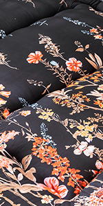 Black Floal Japanese Futon Floor Mattress
