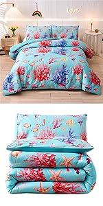 coral starfish conch comforter